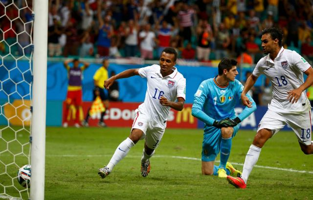 Julian Green of the U.S. celebrates after scoring a goal during extra time. (REUTERS/Michael Dalder)