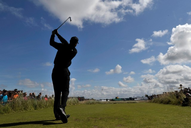 Tiger Woods, shown here playing a practice round, has said he thinks he can win the British Open. And he's right. (Ian Rutherford, USA TODAY Sports)