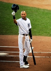 Derek Jeter tips his batting helmet as the Target Field crowd gives him a standing ovation before his first at-bat. (Jeff Curry, USA TODAY Sports)