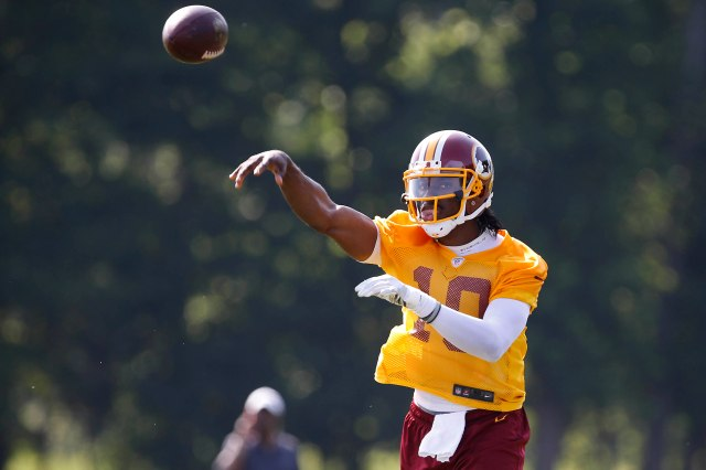 Robert Griffin III at Redskins minicamp. (Geoff Burke, USA TODAY Sports)