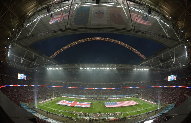A general view of the British flag and the United States flag on the field during the playing of the national anthem prior to the NFL International Series game between the San Francisco 49ers and the Jacksonville Jaguars at Wembley Stadium. (Kirby Lee-USA TODAY Sports)