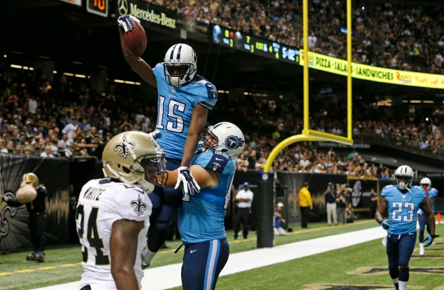 Titans WR Justin Hunter (15) scored twice Friday. (Bill Haber/AP)