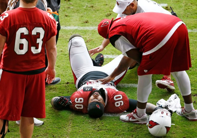 The loss of Darnell Dockett will be difficult for the Cardinals to overcome. (Rob Schumacher, The Arizona Republic)