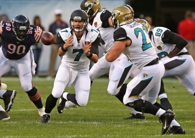 Jags QB Chad Henne (7) looked solid Thursday night. (Jonathan Daniel-Getty Images)