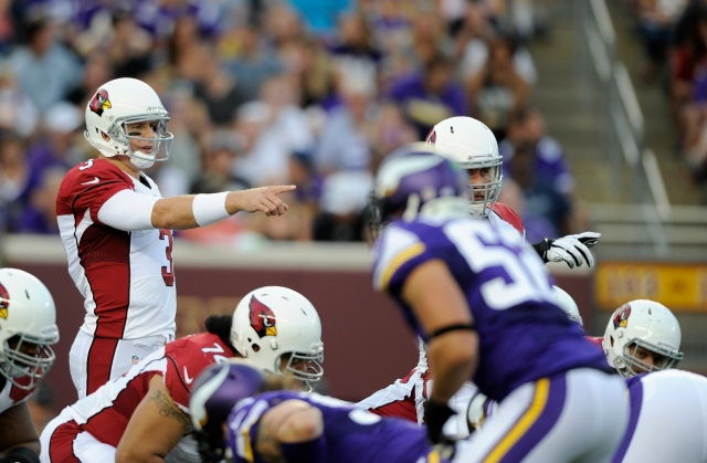 Carson Palmer #3 of the Arizona Cardinals calls a play at the line of scrimmage against the Minnesota Vikings during the first quarter of the preseason game on August 16, 2014 at TCF Bank Stadium in Minneapolis, Minnesota. (Hannah Foslien, Getty Images)