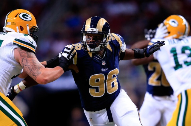 Michael Sam had his first sack against the Packers, but was outplayed by a fellow rookie. Jamie Squire, Getty Images)