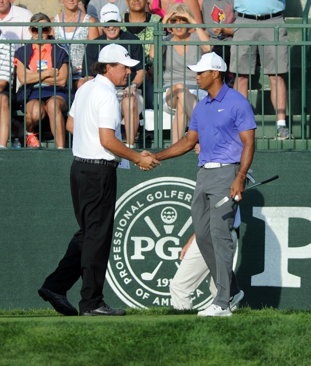 Phil Mickelson and Tiger Woods are two of the most popular players on the tour, but neither has played well this year. (Thomas J. Russo, USA TODAY Sports)