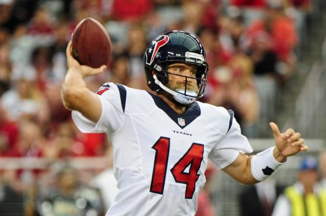 Ryan Fitzpatrick already looks like a liability for the Texans. (Matt Kartozian, USA TODAY Sports)