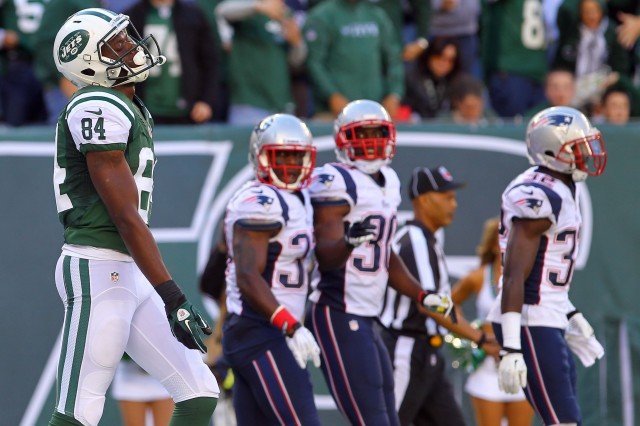 New York Jets wide receiver Stephen Hill (84) reacts after his offensive pass interference penalty. (Ed Mulholland-USA TODAY Sports)