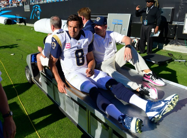 Sam Bradford tore his ACL against the Carolina Panthers last year. (Bob Donnan-USA TODAY Sports)