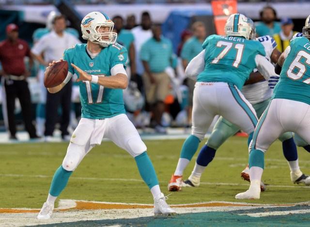 Miami Dolphins quarterback Ryan Tannehill (17) throws against the Dallas Cowboys defense. (Steve Mitchell-USA TODAY Sports)