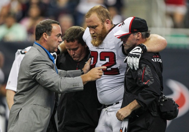 Sam Baker's injury might give the Falcons some unwelcome flashbacks. (Troy Taormina, USA TODAY Sports)