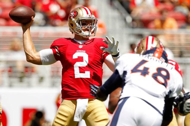 Blaine Gabbert is on shaky standing as the 49ers' backup quarterback. (Cary Edmondson, USA TODAY Sports)