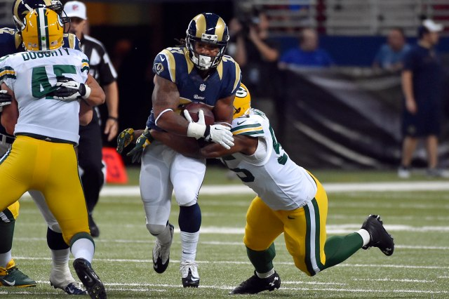 Tre Mason's pass protection will be a concern for the Rams. (Jasen Vinlove, USA TODAY Sports)