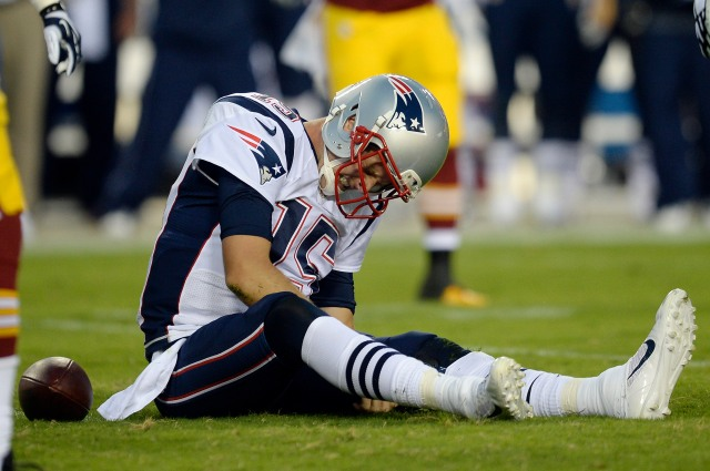 Patriots QB Ryan Mallett had a rough night Thursday. (Rafael Suanes-USA TODAY Sports)