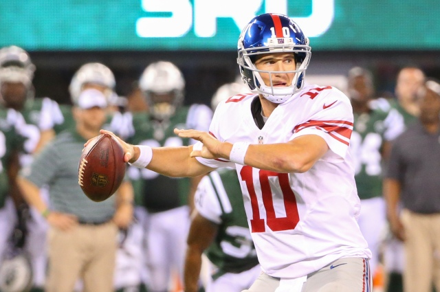 Eli Manning threw his first touchdown of the preseason against the Jets. (Anthony Gruppuso, USA TODAY Sports)