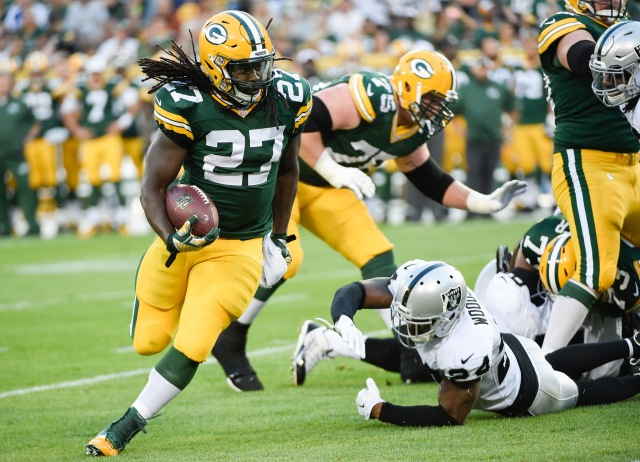 Eddie Lacy was impressive in the Packers' opening drive. (Benny Sieu, USA TODAY Sports)