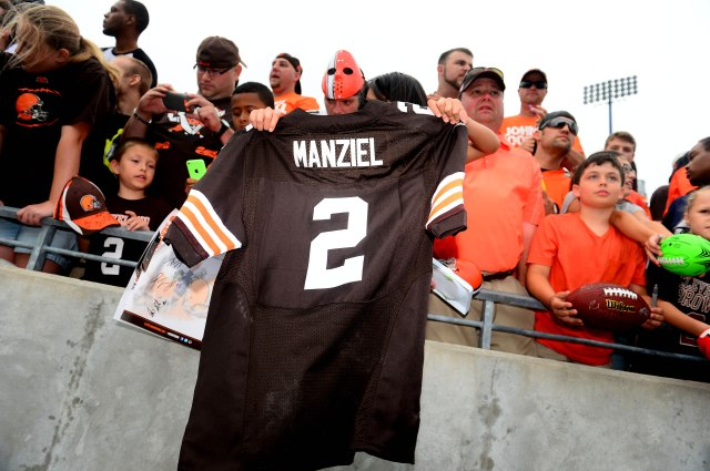 It's Johnny Manziel's chance to shine tonight in the Cleveland Browns' first preseason game. (Andrew Weber, USA TODAY Sports)