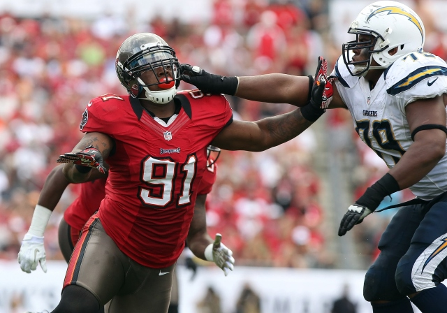 Da'Quan Bowers has struggled to stay healthy for the Buccaneers. (Kim Klement, USA TODAY Sports)