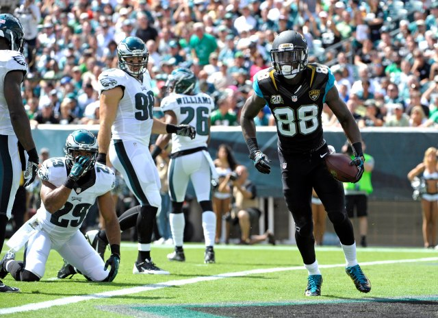 Jacksonville Jaguars wide receiver Allen Hurns (88) celebrates his 34-yard touchdown catch against the Philadelphia Eagles in the first quarter at Lincoln Financial Field.