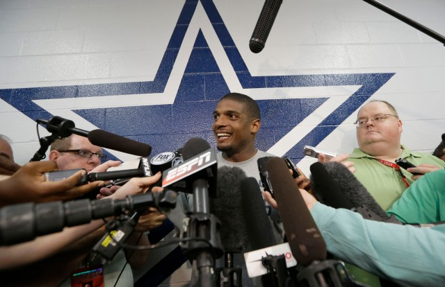 Dallas Cowboys practice squad player defensive end Michael Sam speaks to reporters after practice at the team's headquarters . (AP Photo/LM Otero)