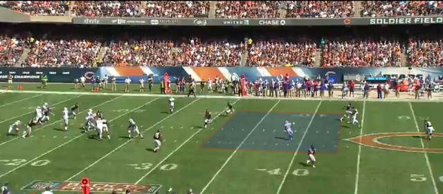 Manuel locked on to Watkins and threw into coverage instead of hitting a wide open Williams across the middle.