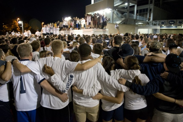 Penn State students flocked to Beaver Stadium to celebrate the lifting of NCAA sanctions. (John Beale, AP Photo)