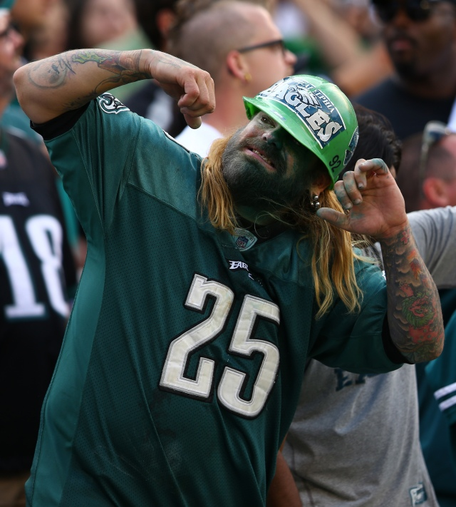 A Philadelphia Eagles fan celebrate a touch down against the Jacksonville Jaguars during the fourth quarter at Lincoln Financial Field. (Jeffrey G. Pittenger, USA TODAY Sports)