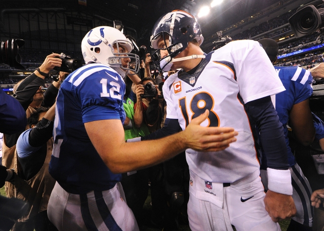 Andrew Luck (12) and Peyton Manning will meet for the second time Sunday night. (Matt Kryger/The Indianapolis Star)