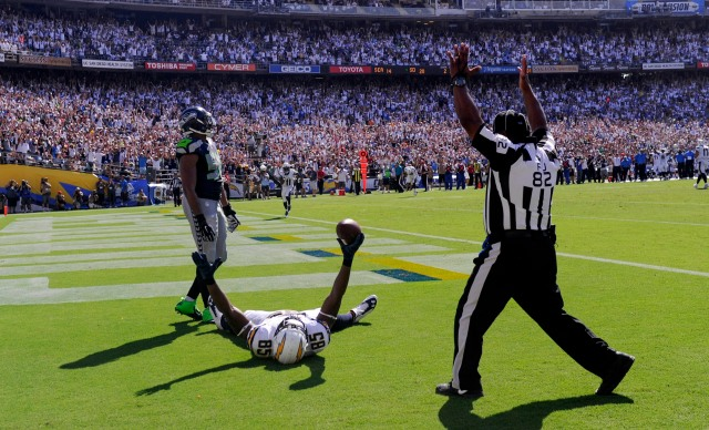 San Diego Chargers tight end Antonio Gates (85) celebrates scoring the second of his three touchdowns against the Seattle Seahawks. (Robert Hanashiro-USA TODAY Sports)