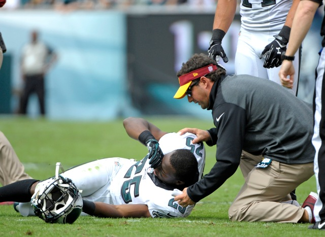 LeSean McCoy reacts to a hard helmet-to-helmet hit Sunday. (Eric Hartline-USA TODAY Sports)