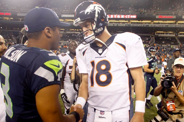 Broncos QB Peyton Manning hopes to even his record against Russell Wilson's Seahawks. (Joe Nicholson-USA TODAY Sports)