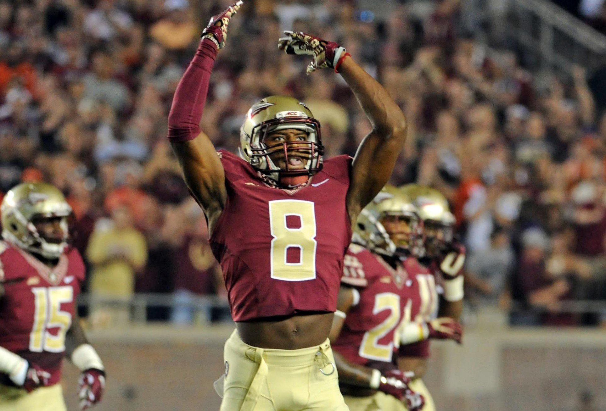 Florida State's Jalen Ramsey celebrates a big defensive play against Clemson. (Melina Vastola-USA TODAY Sports)