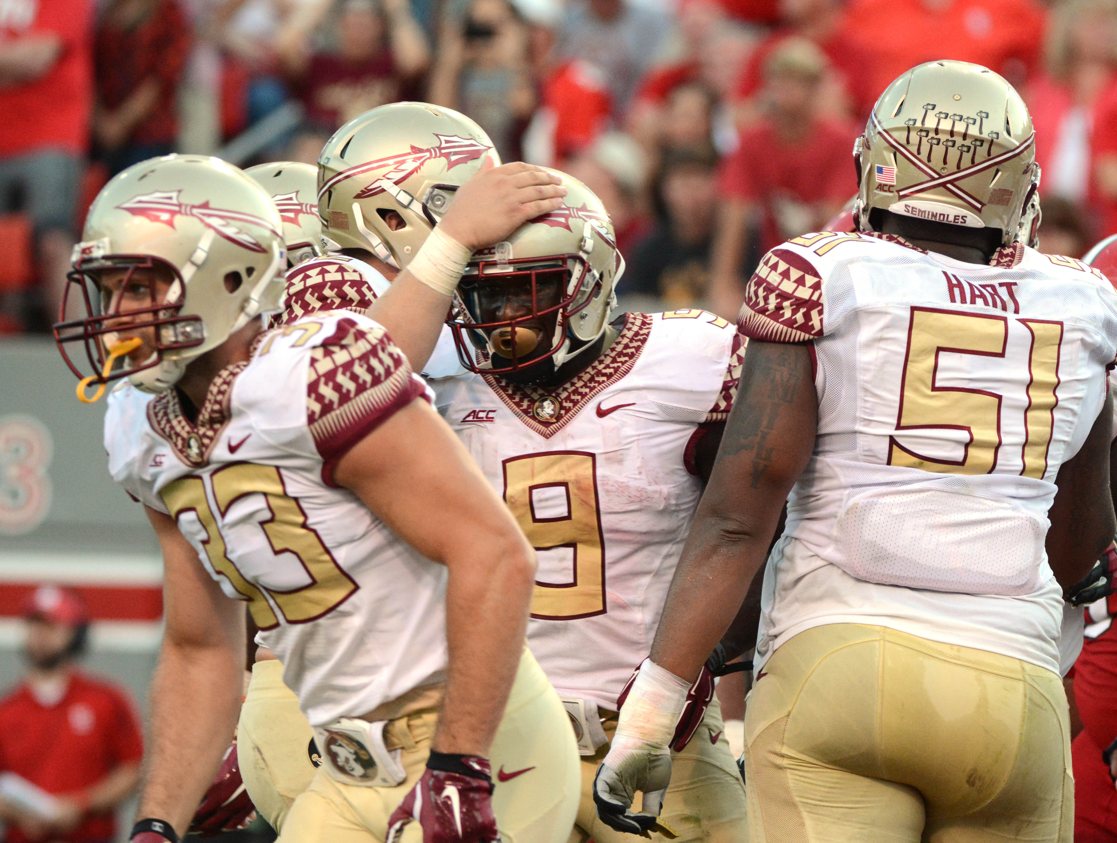 Karlos Williams (9) scored for Florida State in its rally against N.C. State  (Rob Kinnan, USA TODAY Sports)