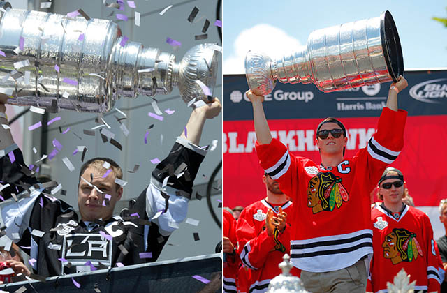 Dustin Brown (2014) and Jonathan Quick (2013) lift the Cup (USA TODAY Sports photos)