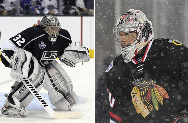 Jonathan Quick, left, and Corey Crawford (USA TODAY Sports photos)