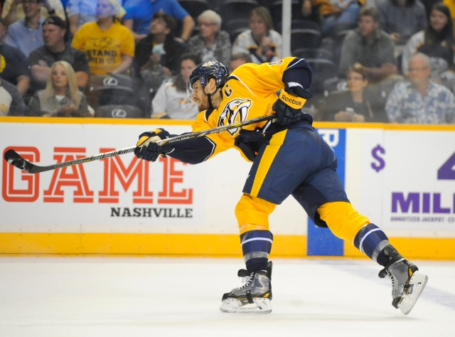 Nashville's Shea Weber has never won the Norris Trophy but is a two-time runner-up. (Christopher Hanewinckel, USA TODAY Sports)