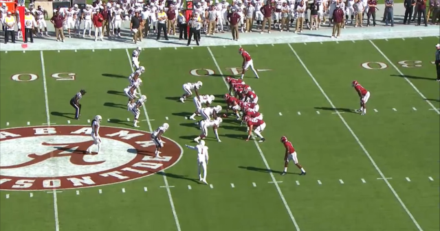 To stop Albama's run game, A&M was forced to bring a lot of numbers into the box.