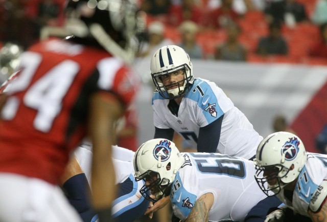Tennessee Titans quarterback Zach Mettenberger (7) calls a play at the line of scrimmage during their game against the Atlanta Falcons. (Jason Getz-USA TODAY Sports)