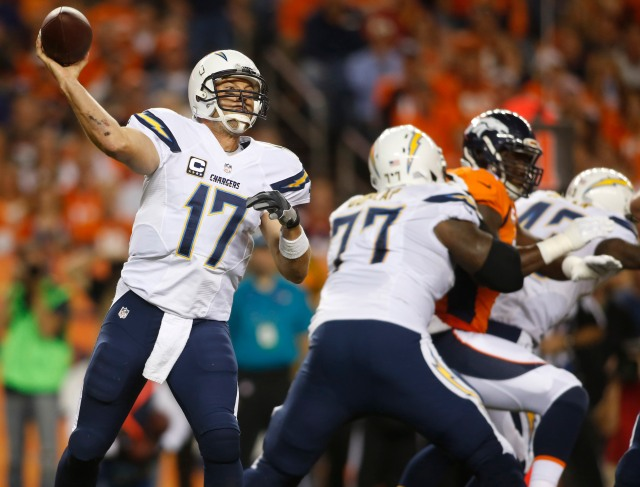 San Diego Chargers quarterback Philip Rivers (17) throws a pass during the first half against the Denver Broncos. (Chris Humphreys-USA TODAY Sports)