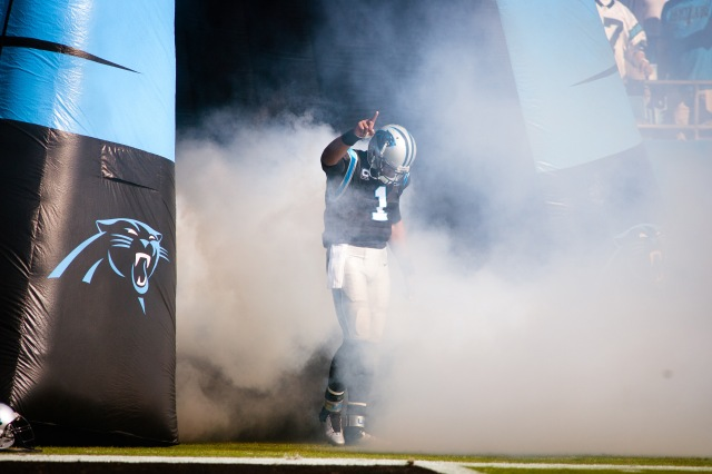 Carolina Panthers quarterback Cam Newton (1) runs out of the tunnel before the start of the game against the Seattle Seahawks. (Jeremy Brevard-USA TODAY Sports)