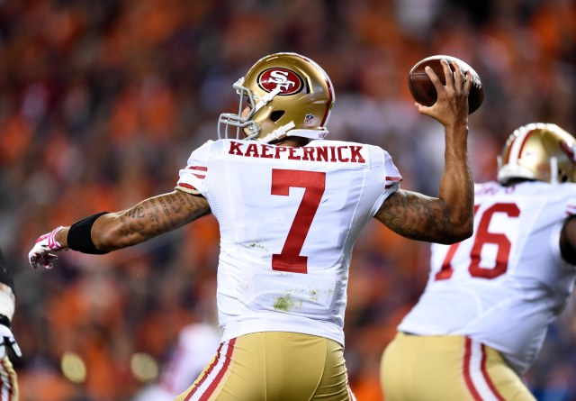 San Francisco 49ers quarterback Colin Kaepernick (7) prepares to pass in the second quarter against the Denver Broncos. (Ron Chenoy-USA TODAY Sports)