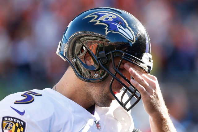 Joe Flacco missed out on an opportunity to push the Ravens ahead of the AFC North competition. (Aaron Doster, USA TODAY Sports)