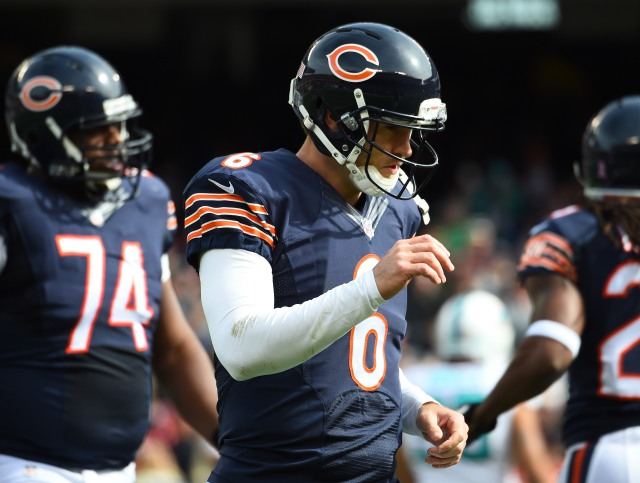 Jay Cutler's errors have become a fixture of the Bears' offense. (Mike DiNovo, USA TODAY Sports)