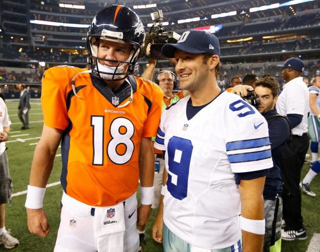 Will Peyton Manning and Tony Romo (9) meet in the Super Bowl? Will one of them win MVP? (Matthew Emmons-USA TODAY Sports)