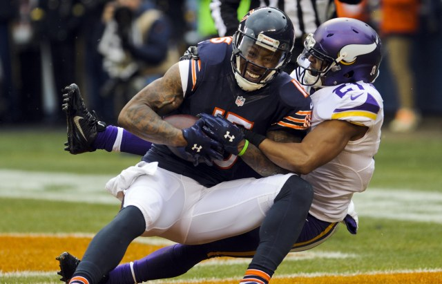 Chicago's Brandon Marshall (15)  scores a touchdown against Minnesota Vikings cornerback Josh Robinson (21) in the second quarter. (Matt Marton, USA TODAY Sports)