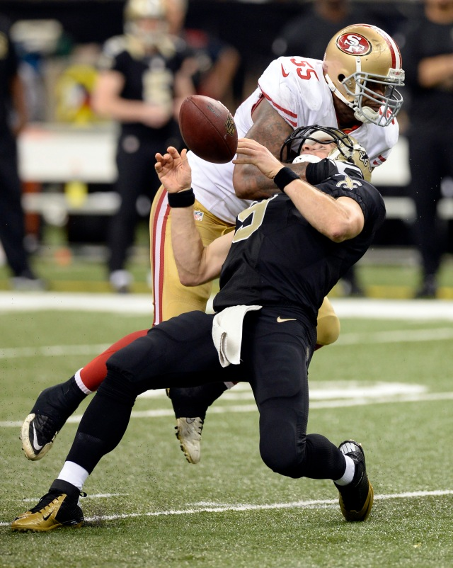 Expect a physical affair between the Saint and 49ers in the Superdome on Sunday. ( John David Mercer-USA TODAY Sports)