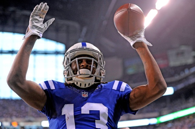 TY Hilton celebrates a touchdown in the first half. (Thomas J. Russo, USA TODAY Sports)