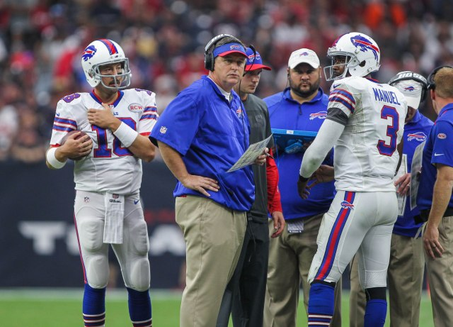 Buffalo Bills head coach Doug Marrone on the sideline with quarterback Kyle Orton (18) and quarterback EJ Manuel (3) against the Houston Texans. (Troy Taormina-USA TODAY Sports)
