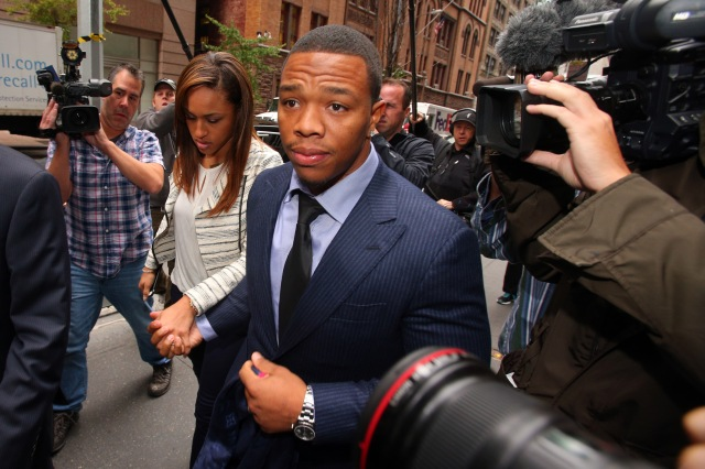 Suspended NFL running back Ray Rice arrives with his wife, Janay Rice for his appeal hearing on his indefinite suspension from the NFL. (Brad Penner-USA TODAY)